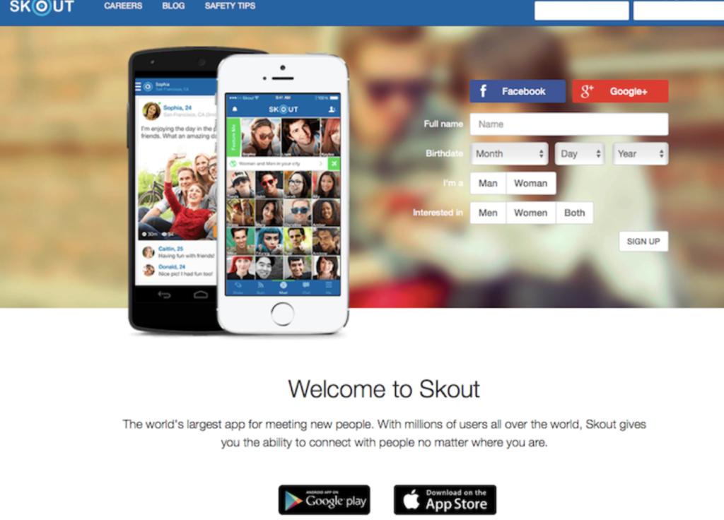 skoutのアプリダウンロード画面