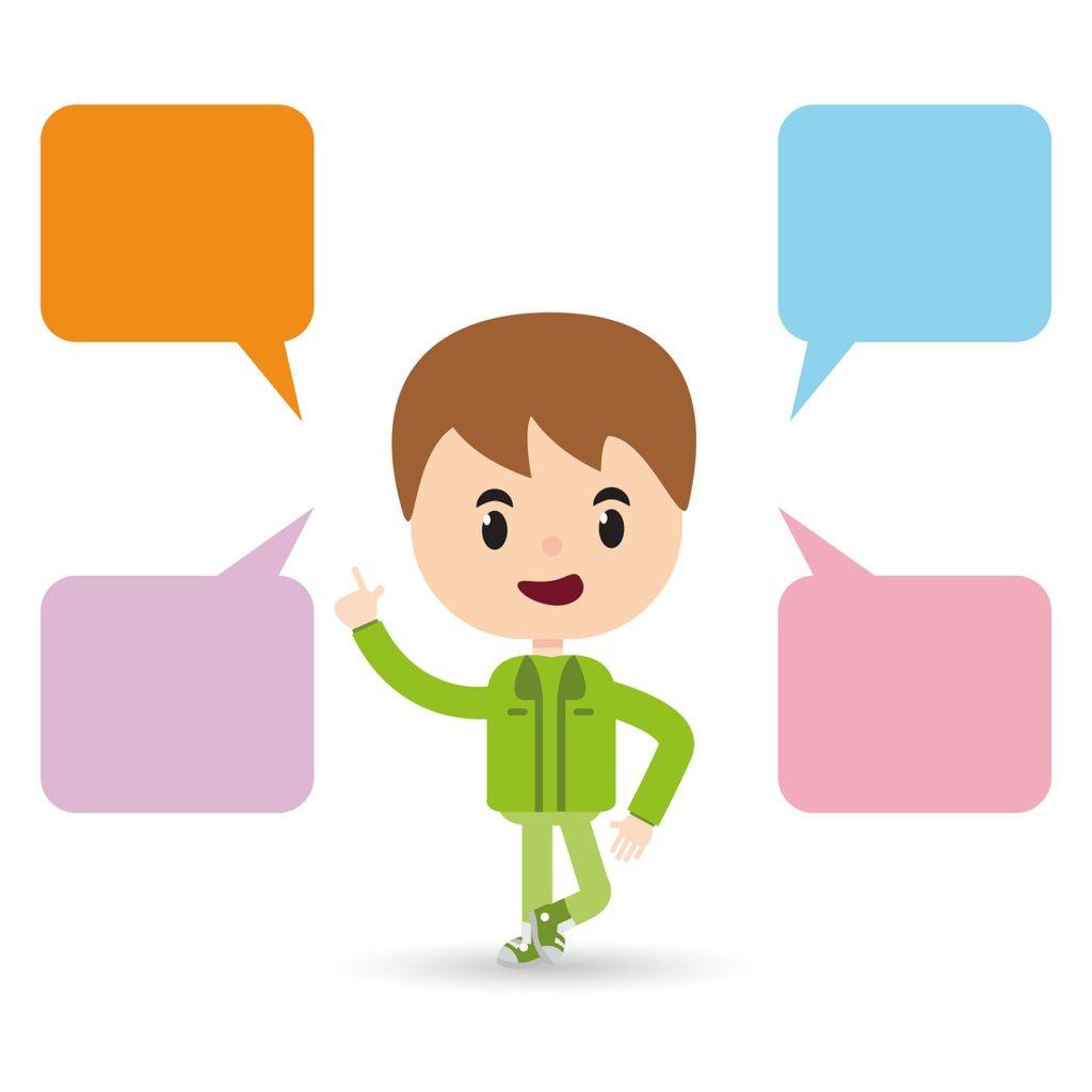 会話するアニメーションの男性